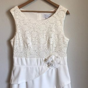 White lace wedding after party going away dress